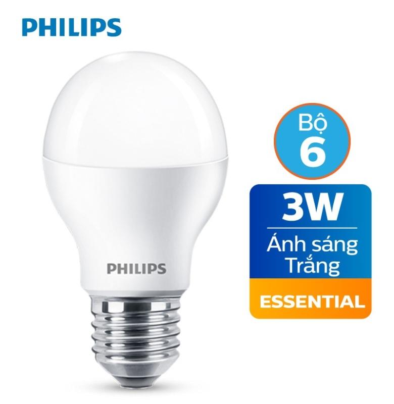 Bộ 6 Bóng đèn Philips LED Essential 3W E27 P45 - Ánh sáng trắng / Ánh sáng vàng