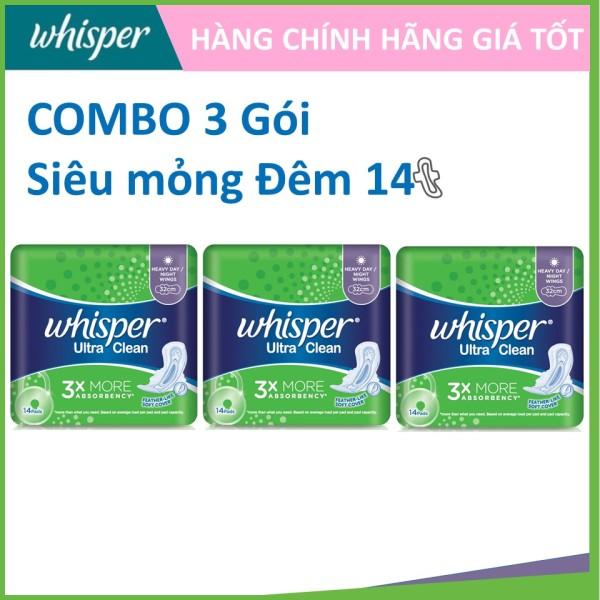 COMBO 3 gói Whisper Siêu mỏng Đêm 14 miếng