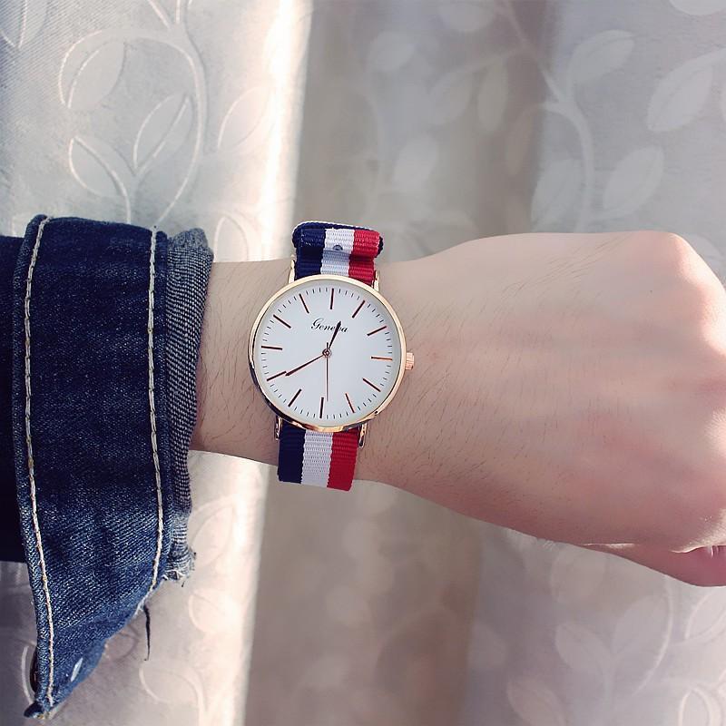 (Tặng kèm hộp và pin) Đồng hồ thời trang Nam Nữ Geneva mặt tròn dây dù cá tính