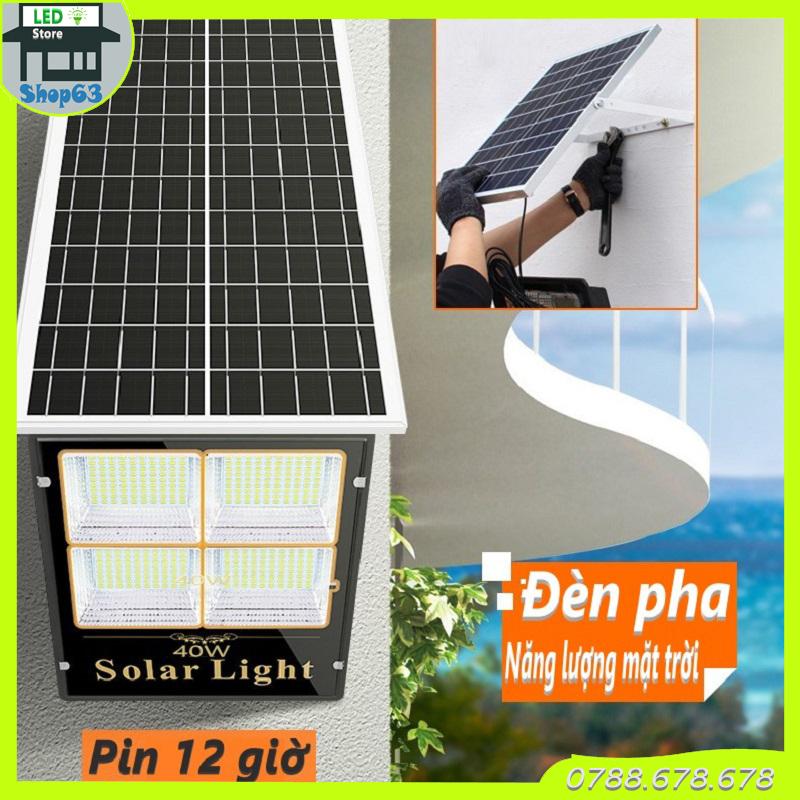 Đèn pha năng lượng mặt trời 40W hàng cao cấp - pin bảo đảm sáng liên tục 12 giờ (chống nước cực tốt - có hẹn giờ - tự động sáng khi trời tối - hoặc điều khiển từ xa)
