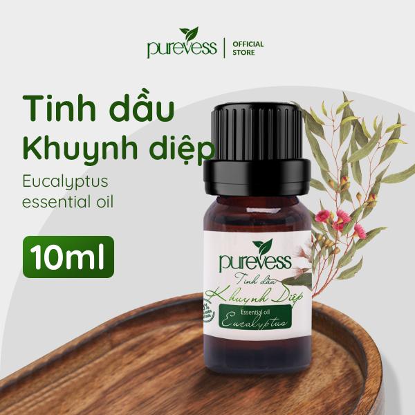 Tinh dầu thiên nhiên Khuynh Diệp Purevess 10ml tạo cảm giác thoải mái, thông thoái mũi, giảm căng thẳng. Eucalyptus Essential Oil. cao cấp