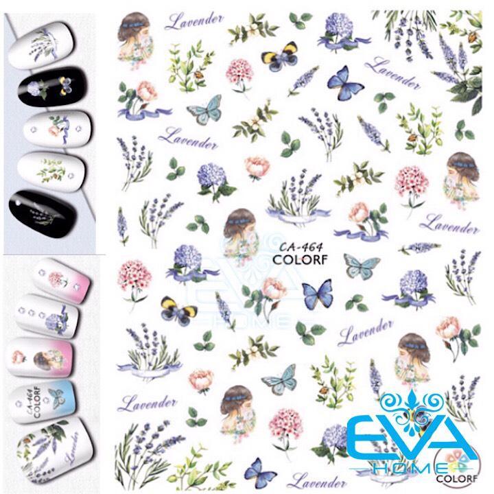 Miếng Dán Móng Tay 3D Nail Sticker Tráng Trí Hoạ Tiết Hoa Bướm Lavender CA464 tốt nhất