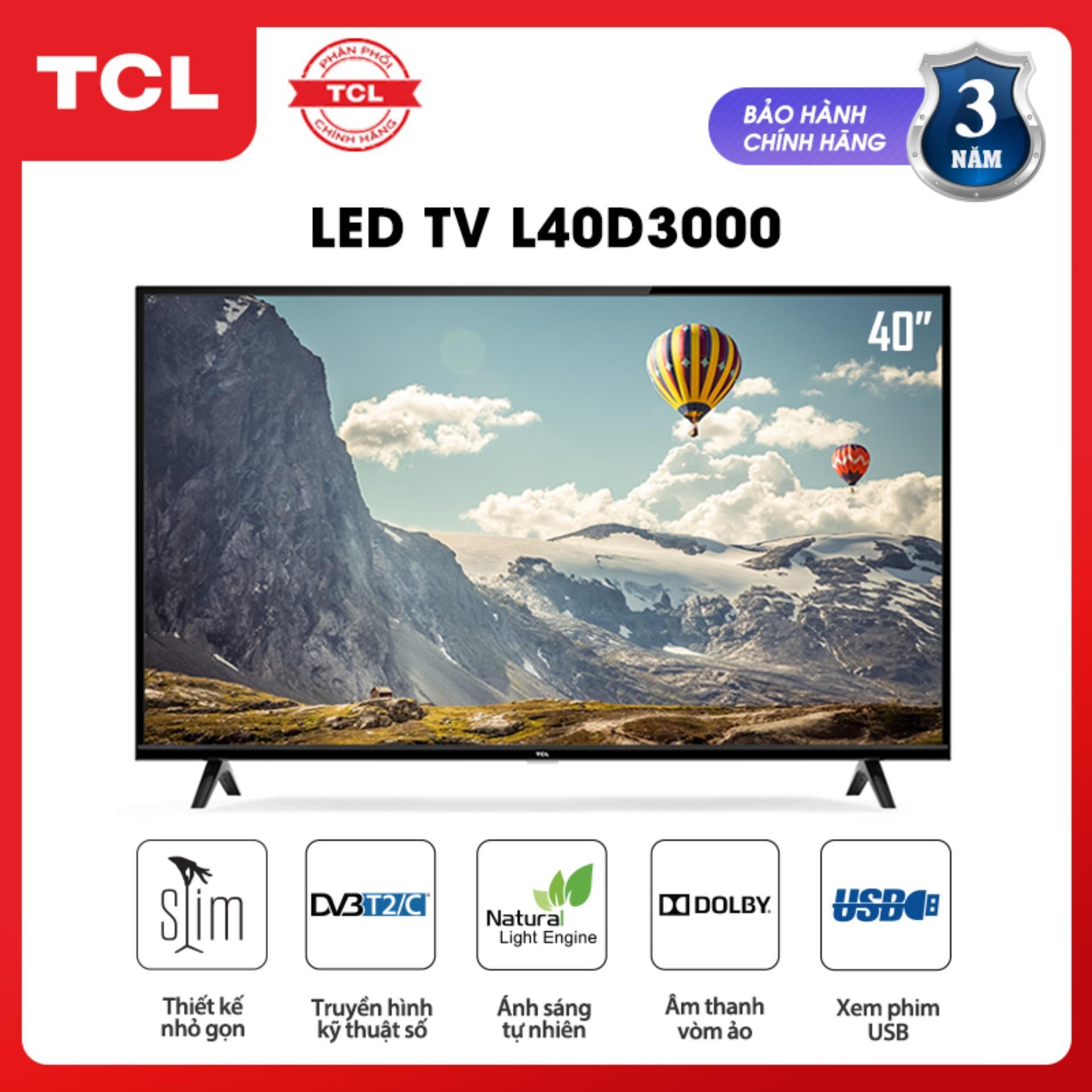 Bảng giá Tivi 40 inch TCL HD - L40D3000 - Dolby, Công nghệ Dynamic, DVB-T2 - Tivi giá rẻ chất lượng - Bảo hành 3 năm