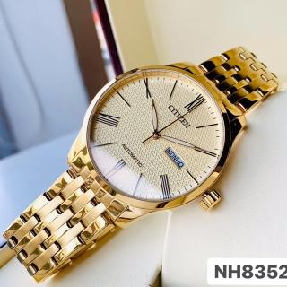 Đồng hồ Nam Citizen Automatic NH8352-53P Vàng,Mặt vàng,Lịch thứ ngày-Máy cơ tự động-Dây kim loại thép không gỉ cao cấp-Size 40mm thumbnail