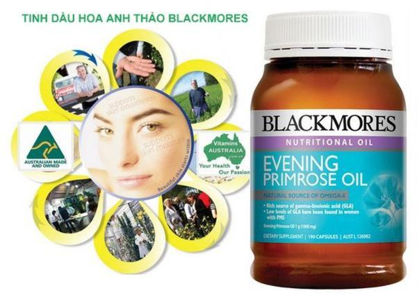 Viên uống tinh dầu hoa anh thảo Blackmores Evening Primrose Oil (Chai 190 viên)