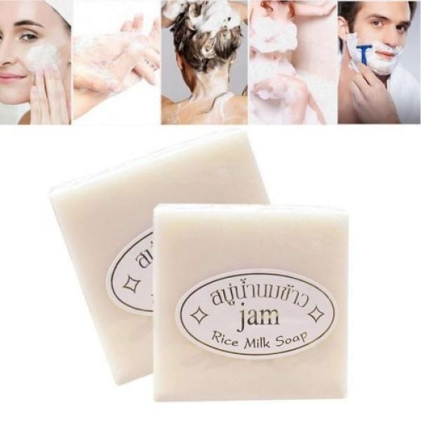 Xà phòng cám gạo thái lan Jam Rice Milk Soap x1 lốc (12 cục)