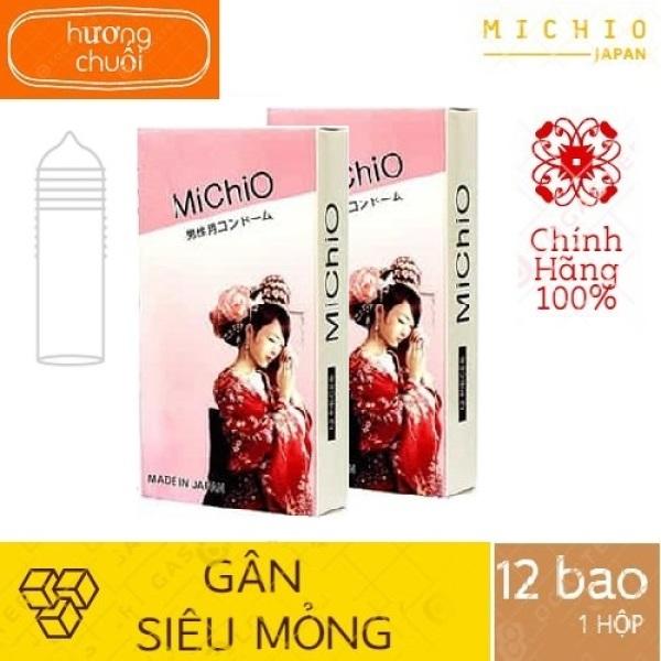 COMBO 2 HỘP Bao Cao Su MICHIO NHẬT BẢN,Gân và siêu mỏng, hương chuối nhẹ nhàng Dùng là phê TH STORE 01 cao cấp