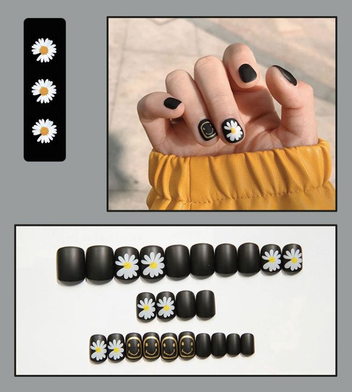 Bộ 24 móng tay giả họa tiết hoa (Kèm keo dán)