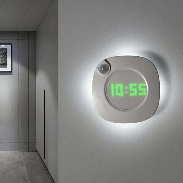 Bảng giá LED Digital Time Wall Clock with PIR Motion Sensor Night Light Home Clock Lamp