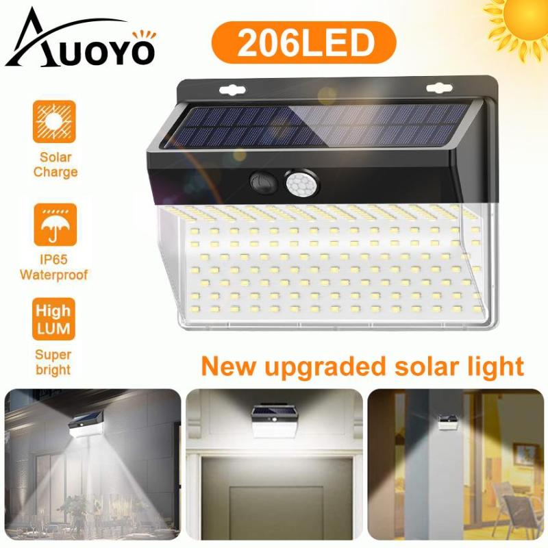 Auoyo 206LED Outdoor Lighting Solar Security Outdoor Lights Solar Lights  270° Wide Angle Lighting Solar Motion Sensor Lights Wireless Waterproof for Yard Garage Deck Pathway Porch