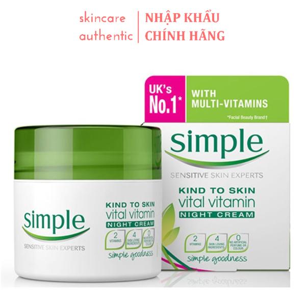 Kem Dưỡng Da Ban Đêm Simple Vital Vitamin Night Cream 50ml, kem dưỡng da ban bêm dưỡng ẩm ban đêm cấp ẩm cho da nhập khẩu