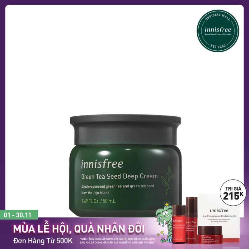 Kem dưỡng tăng cường độ ẩm phục hồi da từ trà xanh và dầu hạt trà xanh tươi Innisfree Green tea Seed Deep Cream 50ml - NEW giá rẻ
