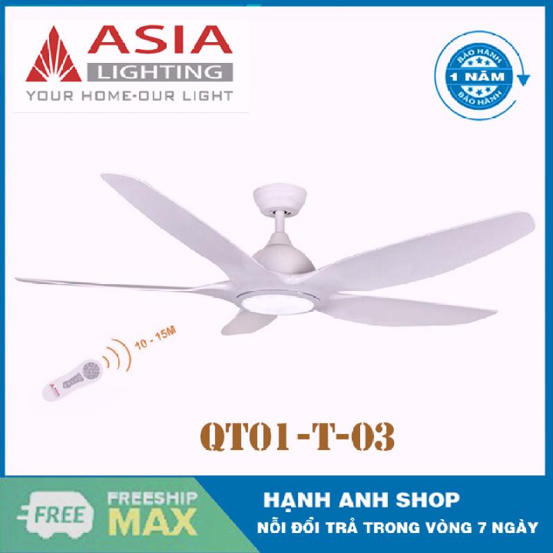 [Trả góp 0%][ Hàng Chính Hãng ] Quạt trần 5 cánh ASIA Model: QT03- Đèn Đổi 3 Chế Độ Mầu - Bảo Hành 12 Tháng