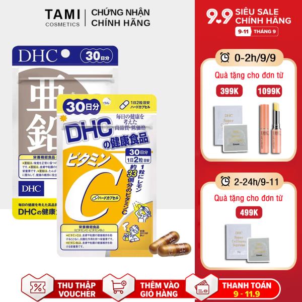 Combo NGỪA MỤN - GIẢM THÂM DHC Nhật Bản (viên uống Vitamin C và Kẽm zinc) thực phẩm chức năng giúp tăng cường sức đề kháng làm đẹp da TA-DHC-CB2
