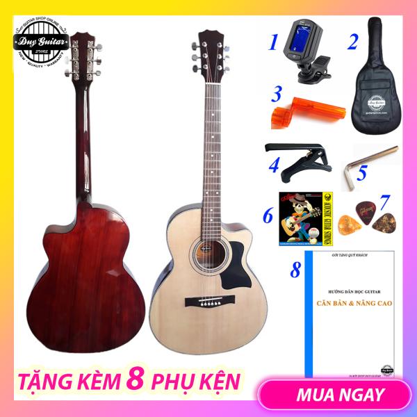 Đàn guitar acoustic full size guitar DT70 Full chất lượng âm thanh tốt , action êm tay cho người mới tập cần đàn thẳng Tặng kèm 8 phụ kiện đàn guitar - Duy Guitar Store