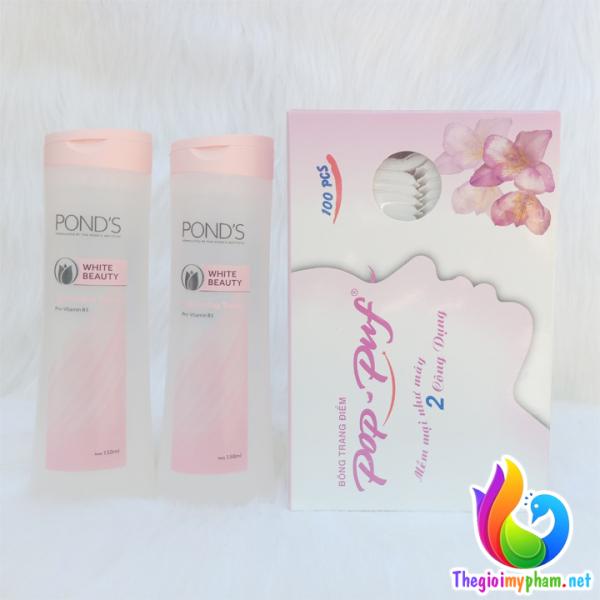 Combo 2 Chai Nước Hoa Hồng Làm Trắng Da Ponds White Beauty 150ml + 1 Hộp Bông Tẩy Trang Pop-Puf 100 miếng cao cấp