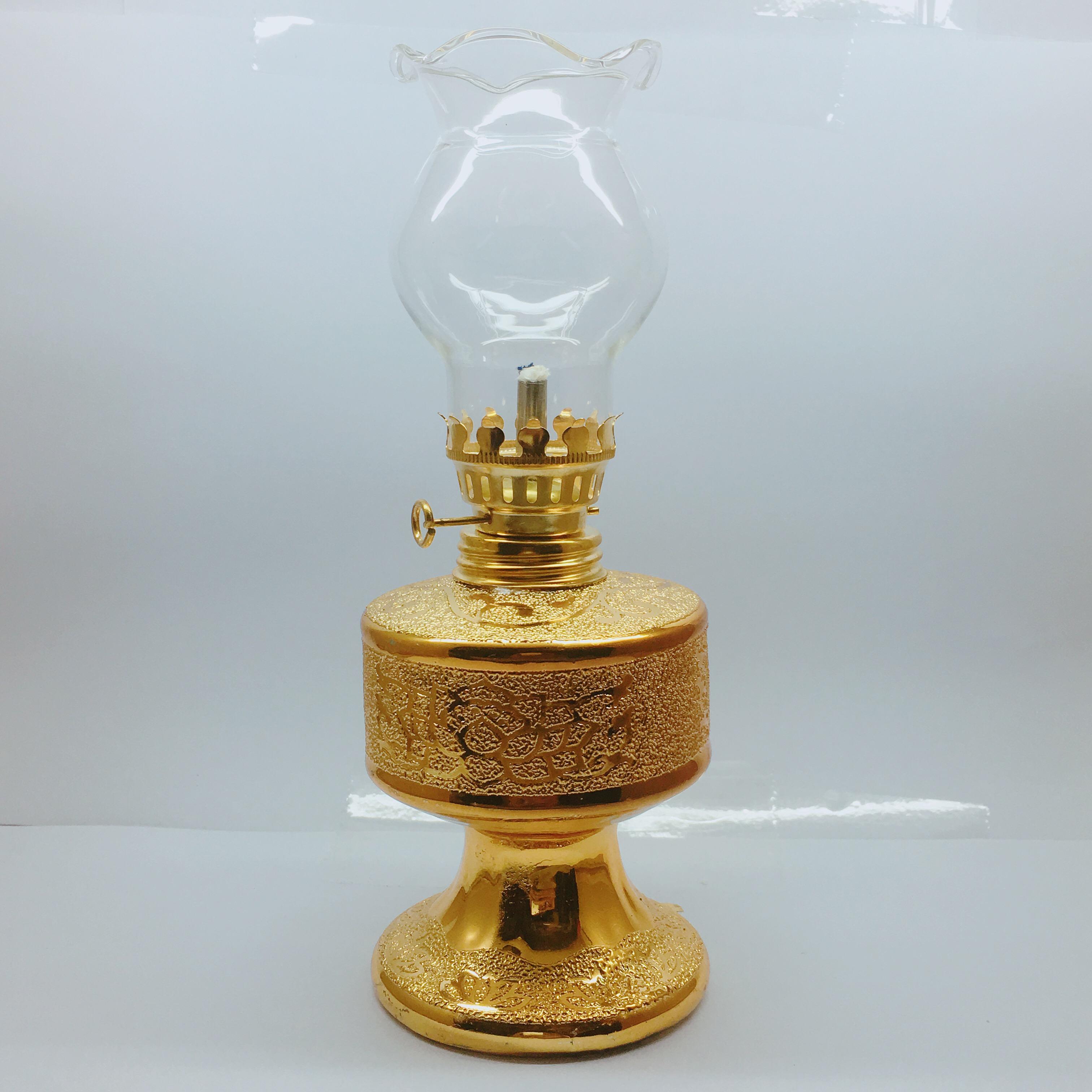 Đèn dầu sứ kim sa mạ vàng 18CM