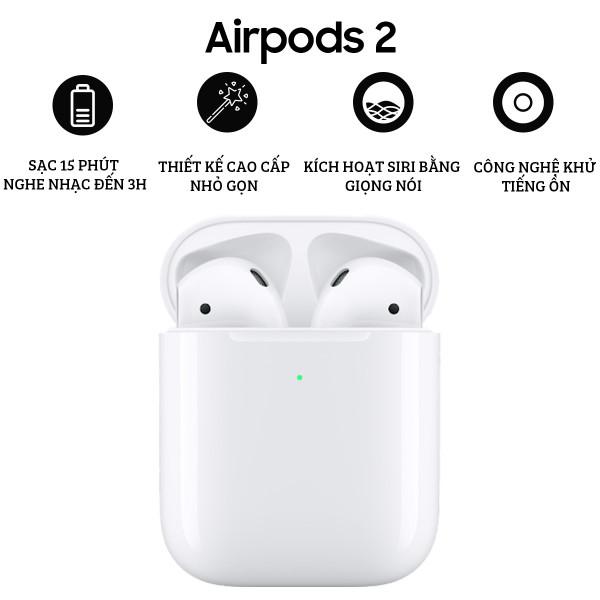 [ TAI NGHE HOT ] Tai Nghe Bluetooth Apple AirPods 2 Full Box. Âm Thanh Siêu Bass- Chức Năng: Định Vị Tai Nghe, Đổi Tên- Pop Up Tự Động, Thao Tác Chạm Tay- Full Chức Năng- Thời Lượng Pin Sử Dụng Trong Vòng 24H. Bảo Hành 12 Tháng.