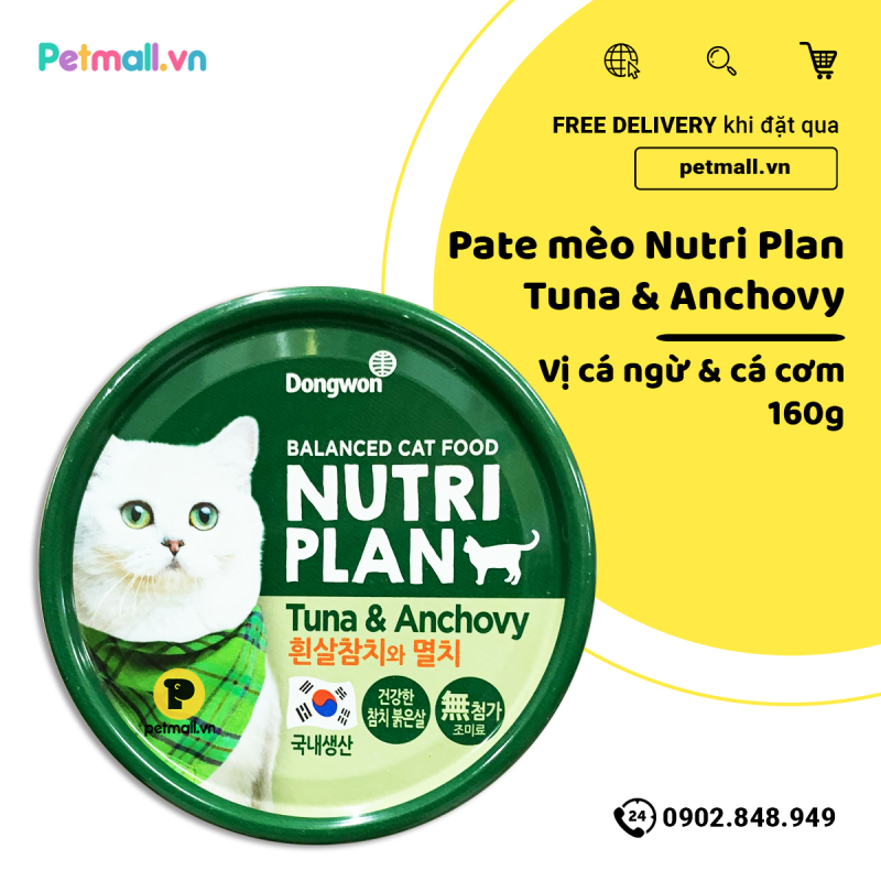 Pate mèo Nutri Plan Tuna & Anchovy - 160g
