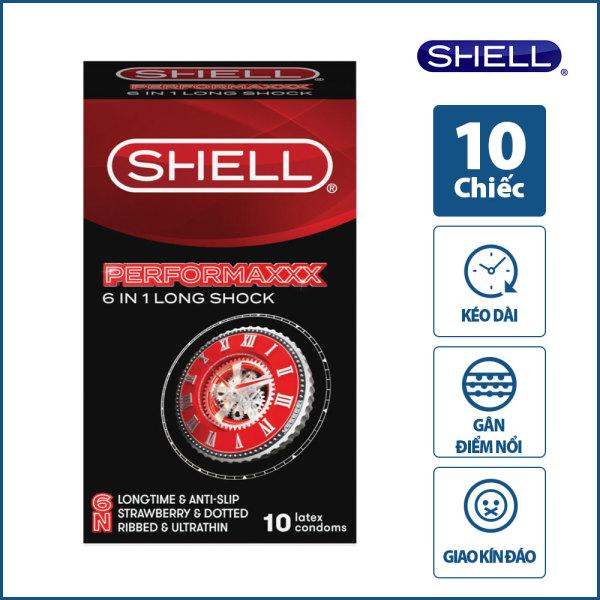 Bao Cao Su Hàn Quốc Shell Performaxxx 6in1 - Kéo Dài Thời Gian, Mỏng, Gân Gai Li Ti Bao Quanh Thân, Độ Bền Tăng Gấp 3 Lần, Vòng Ôm Chống Tuột - Hộp 10 Cái - GUNSHOP VIỆT NAM - Tặng 1 gel rửa tay khô Shell 90ml cho đơn hàng từ 199k