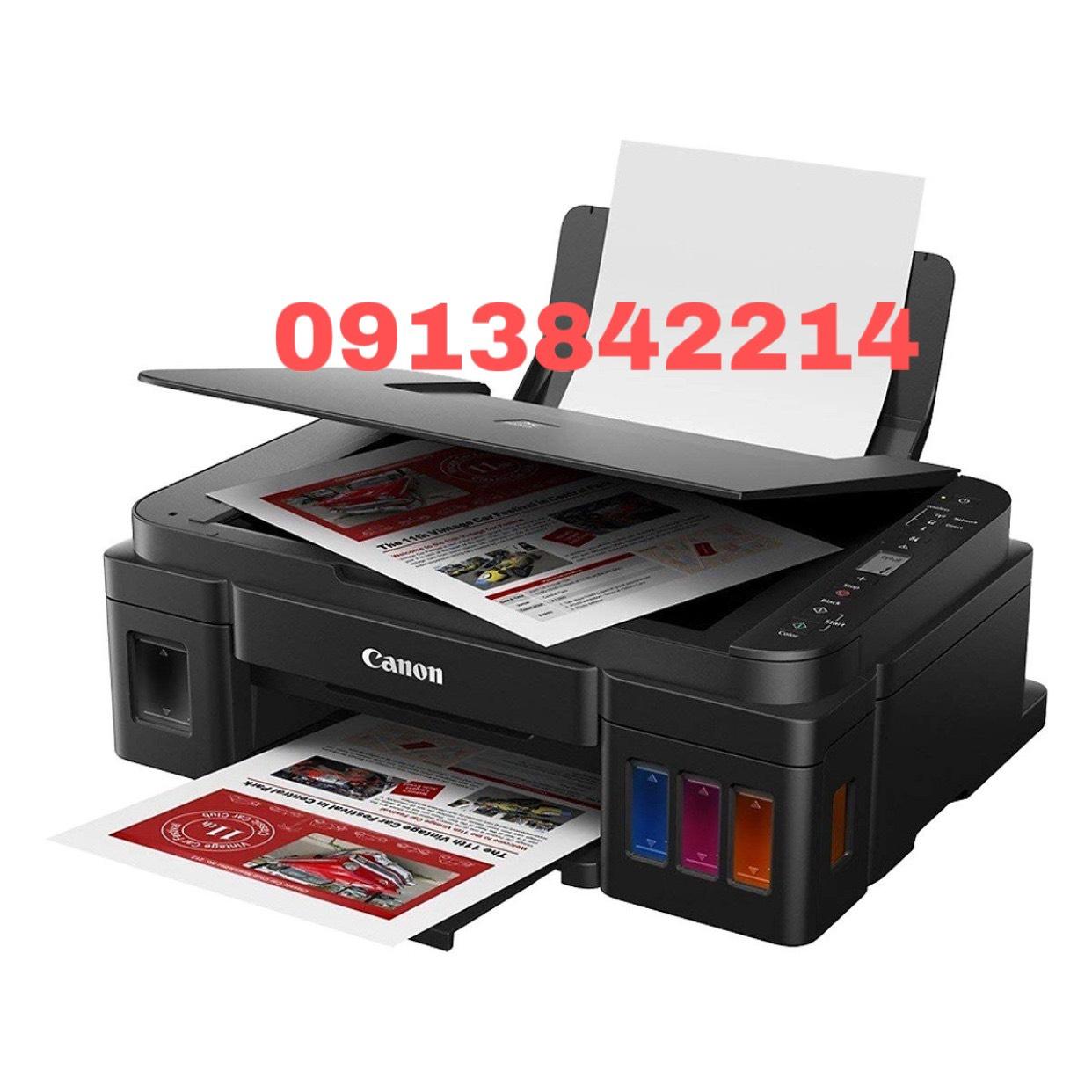 Máy in phun màu Canon G2010 đời mới sử dụng 4 bình mực Dye uv inkjet như hình dưới (in/scan/copy)