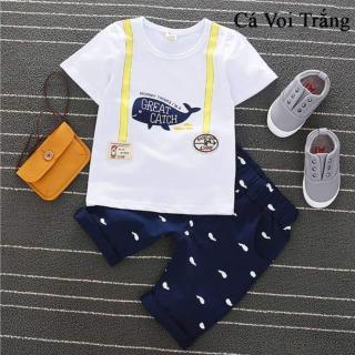 Bộ quần áo trẻ em mùa hè chất cotton in hình cá voi cho bé trai từ 10kg đến 20kg( màu xanh, trắng) thumbnail