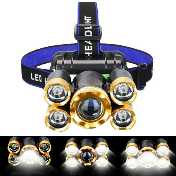 Bảng giá Đèn pin chiếu sáng đội đầu 5 bóng siêu sáng. (Kèm dây sạc và dây đeo trán)