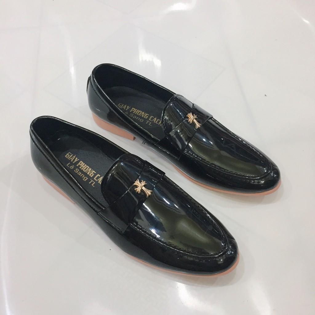 Giày tây nam da bóng đai kim loại chữ thập vàng lịch lãm hàng cao cấp giá rẻ( Vina Store )