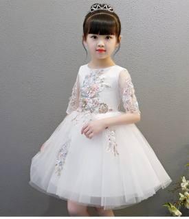 Váy bé gái đầm bé gái đầm công chúa dự tiệc bé gái màu trắng tay lỡ kết hoa DBG022 cho bé từ 2 3 4 5 6 7 8 9 10 11 12 13 14 tuổi nặng 12 15 20 25 30 35 40 45kg