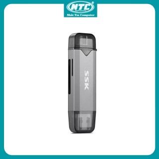 Đầu đọc thẻ nhớ đa năng SSK SCRM390 TypeC & USB 3.0 - đọc thẻ SD TF Card (Xám) - Nhất Tín Computer thumbnail