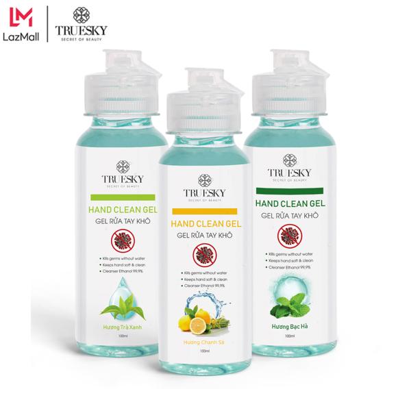 Combo 3 chai nước rửa tay khô Truesky sát khuẩn 99,99% 100ml/chai - (hương chanh sả + hương trà xanh + hương bạc hà)