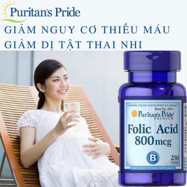 Ngăn ngừa thiếu máu, bổ sung dưỡng chất cho mẹ và bé Folic Acid 800 mcg Puritans Pride