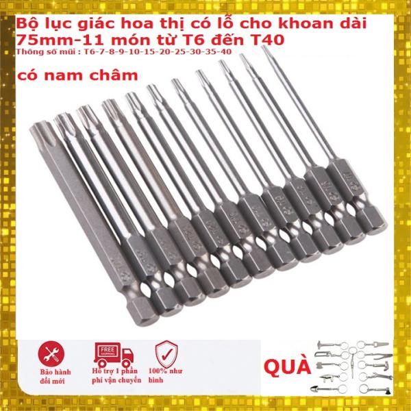 Bộ 11 mũi hoa thị lỗ  từ T6 đến T40 dài 75mm có nam châm hàng Đài Loan- Bộ tô vít hoa khế cho máy khoan