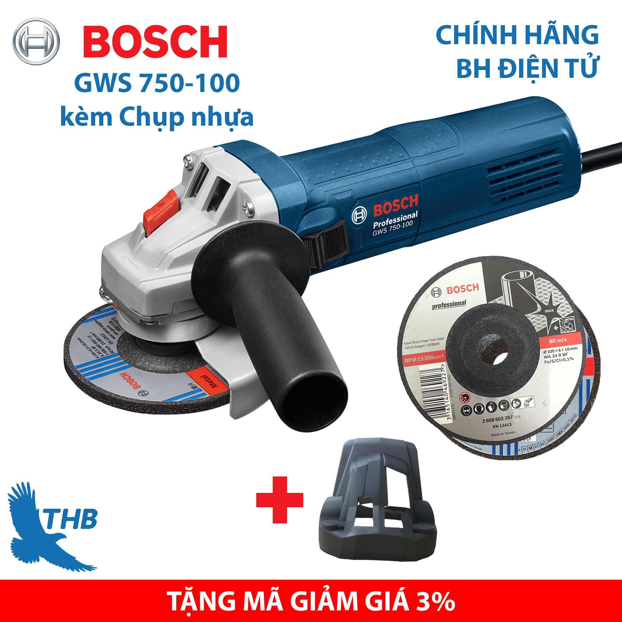Máy mài góc Máy mài điện cầm tay Bosch GWS 750-100 kèm chụp nhựa tặng đá cắt mài Bảo hành điện tử 12 tháng