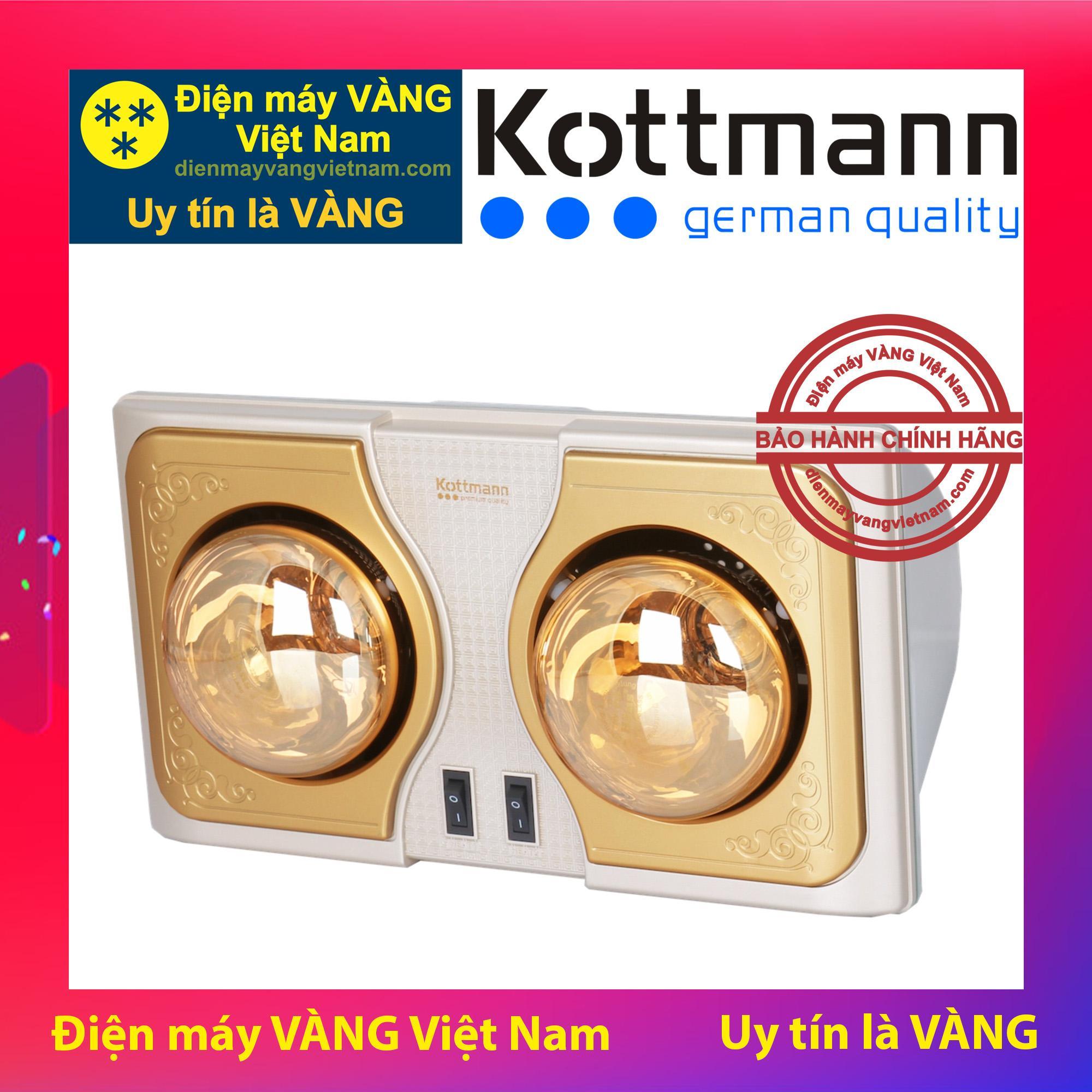 Đèn sưởi nhà tắm 2 bóng treo tường Kottmann K2B-H