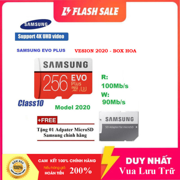 [New 2021] Thẻ nhớ MicroSDXC Class 10 Samsung Plus 256GB Box Hoa U3 4K R100MB/s W90 MB/s New 2020 (Đỏ) + Kèm Adapter
