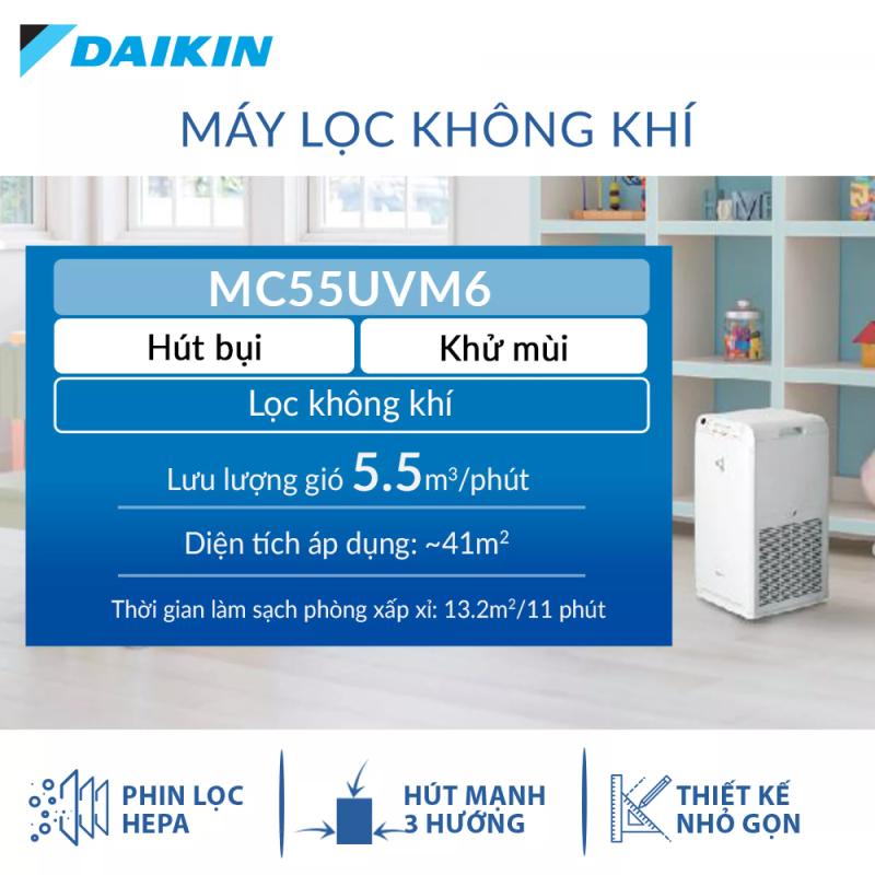 Máy Lọc không khí Daikin MC55UVM6 - Phù hợp phòng 41m2 - Công nghệ Streamer độc quyền - Phin lọc tĩnh điện Hepa - Hút gió 3 hướng - Vận hành êm ái - Thiết kế nhỏ gọn - Hàng chính hãng