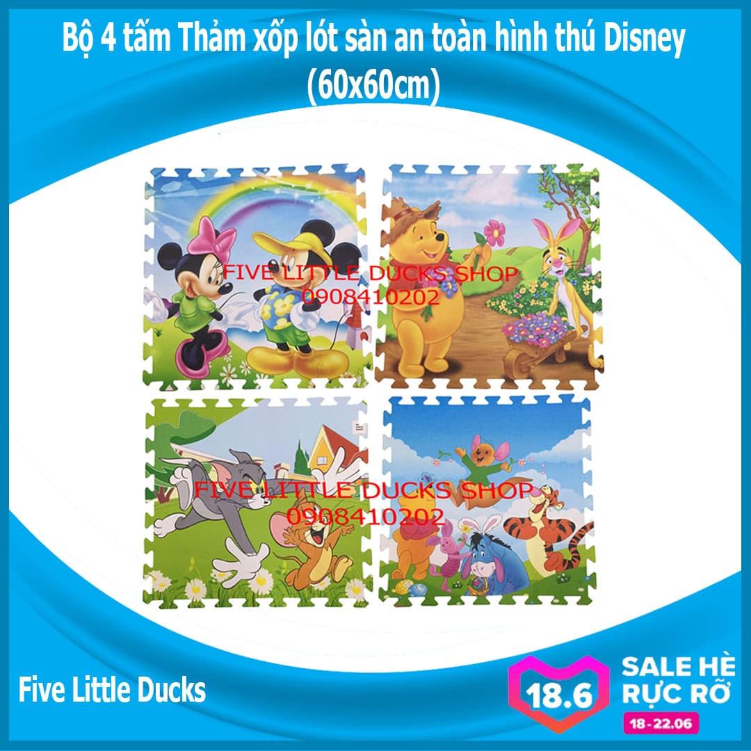 Bộ 4 Tấm Thảm Xốp Lót Sàn An Toàn Cho Bé Hình Thú Disney - 60x60cm - Xuất Xứ Việt Nam Giá Rẻ Bất Ngờ