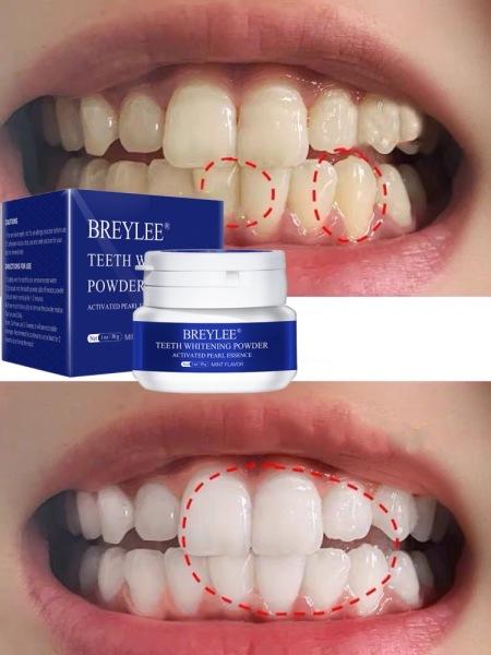 BREYLEE Bột Tẩy Trắng Răng Kem Răng Trắng Sạch Vệ Sinh Răng Miệng Bàn Chải Đánh Răng Gel Loại Bỏ Mảng Bám Vết Bẩn Teeth Whitening White Pearl Powder