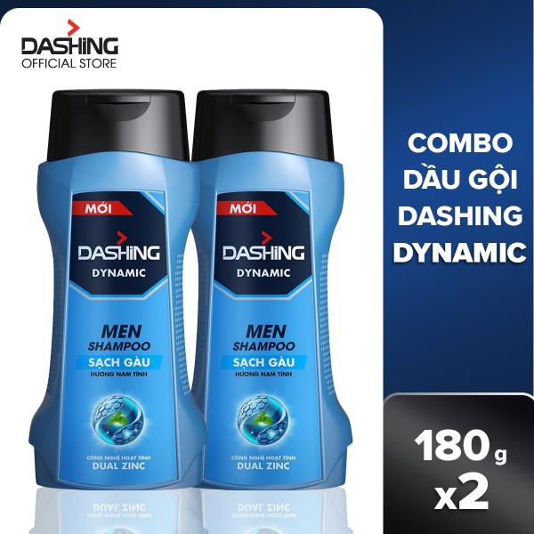 Combo 2 dầu gội Dashing Dynamic sạch gàu dành cho nam giới 180g/chai, thành phần an toàn, không gây kích ứng da đầu, phù hợp với mọi loại da đầu giá rẻ