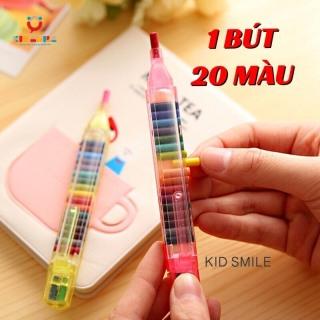 1 BÚT 20 MÀU bút sáp màu thông minh đầy đủ màu trên 1 bút tiện lợi, đáng yêu, dễ cất giữ và mang đi, đồ chơi cho trẻ em từ 3 tuổi trở lên thumbnail