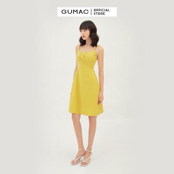 Nơi bán Váy đầm nữ 2 dây quyến rũ xếp ngực nổi bật thời trang GUMAC mẫu mới DB311 chất liệu Kate lụa cao cấp mát mẻ, thanh lịch và sang chảnh