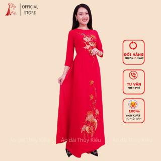 Áo dài lụa Tằm kết đá pha lê nền đỏ lá xòe quạt AM02 FREESHIP mềm mại, co giãn, thấm hút mồ hôi, áo dài truyền thống, áo dài giá rẻ thumbnail