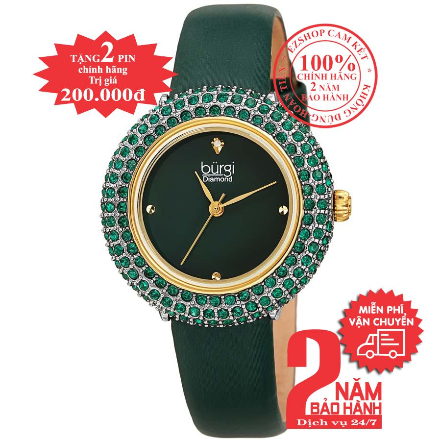 Nơi bán Đồng hồ nữ BURGI BUR227YGN, mặt Xanh (Green), nạm pha lê Swarovski, dây da xanh (Green) , size 33mm- BUR227YGN