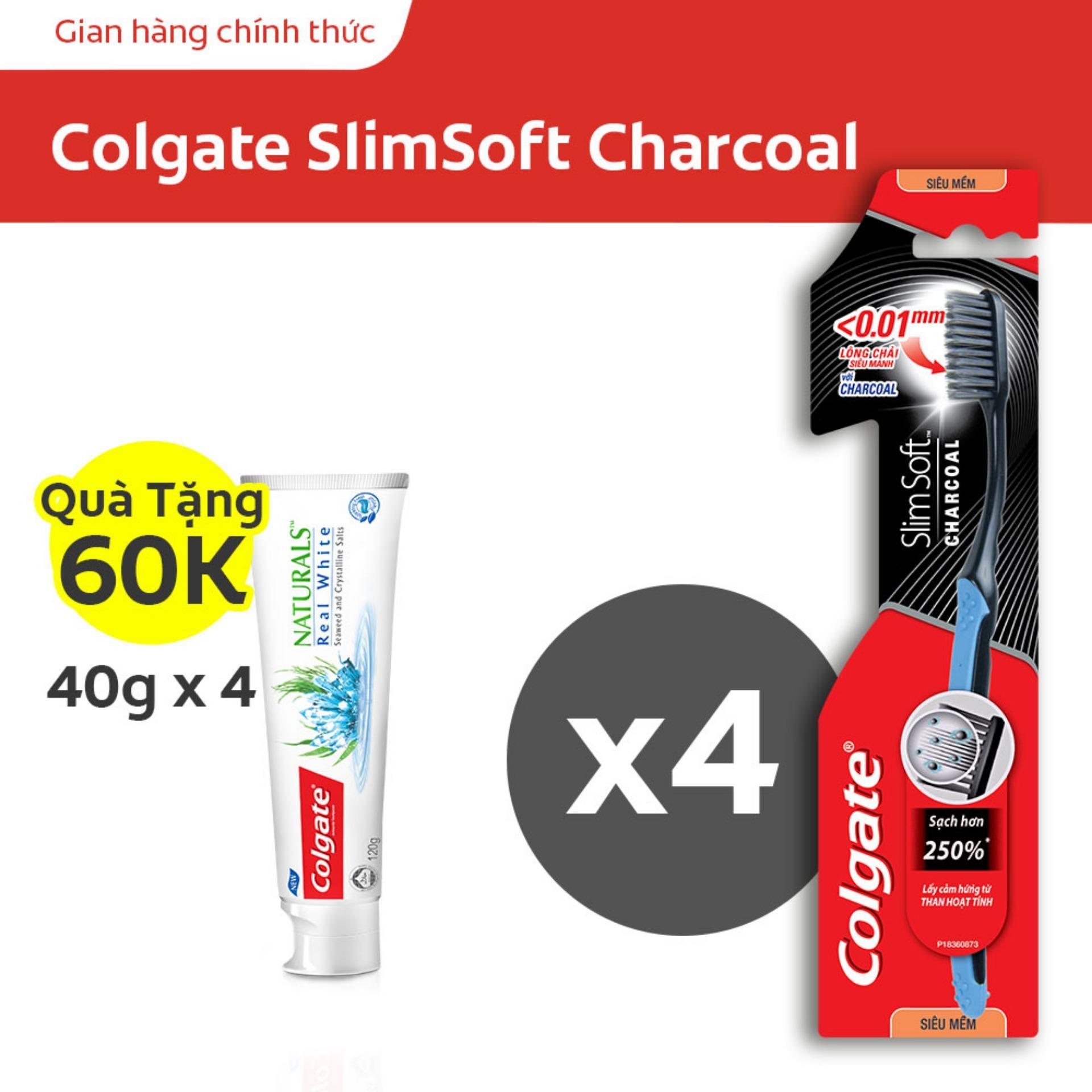 Bộ 4 Bàn chải đánh răng Colgate SlimSoft Charcoal mềm mảnh than hoạt tính tặng bộ 4 kem đánh răng Colgate thiên nhiên làm trắng tinh khôi từ Tảo biển và muối tinh khiết 40g cao cấp