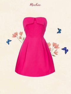 RECHIC Đầm Mandy màu hồng cúp ngực dáng ngắn dễ thương gợi cảm thumbnail