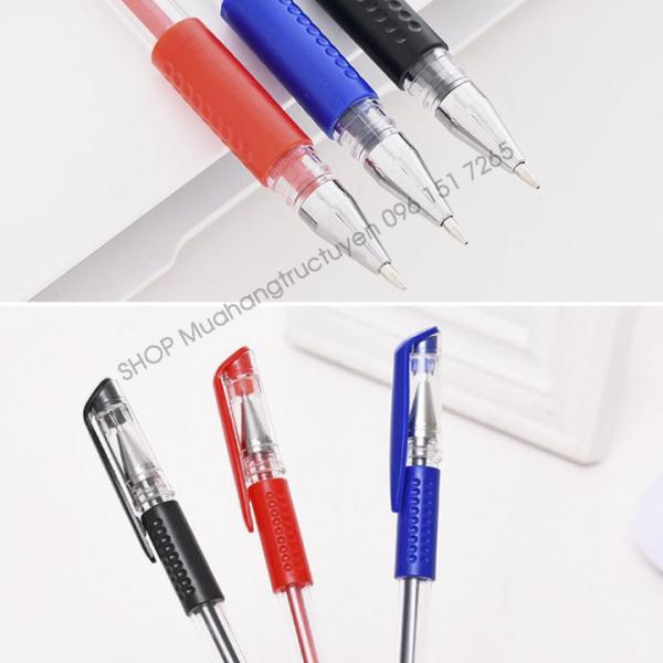Bộ 100 bút bi nước viết êm tay không lem mực ra tay, bút bi giá rẻ sẵn 3 màu đen xanh đỏ, đồ dùng văn phòng phẩm cho học sinh, văn phòng
