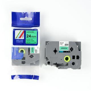 Nhãn in CPT-751 tương thích máy in nhãn Brother P-Touch - Nhãn in chữ đen nền xanh lá khổ 24mm thumbnail