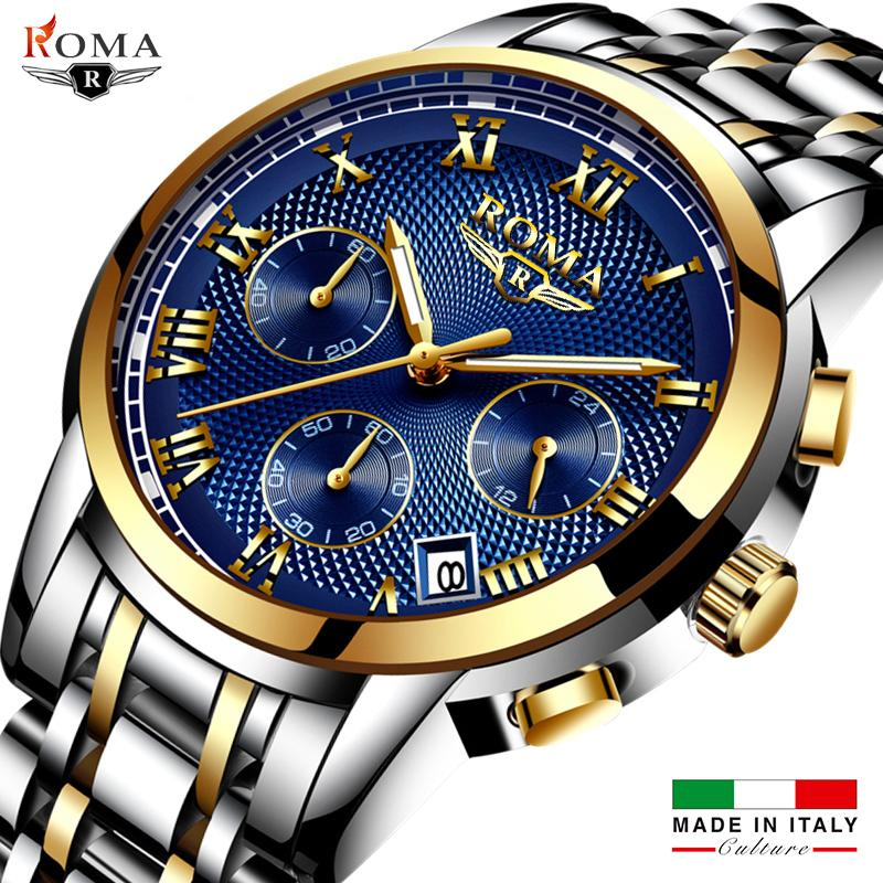 Đồng hồ Nam ROMA ITALY LUX Kính Tráng Sapphire Full Kim – Dây thép đúc đặt cao cấp bán chạy