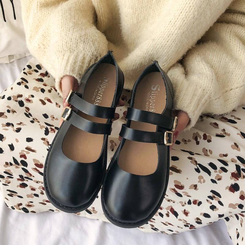 Giày Nữ Kiểu Hàn Quốc Nhiều Kiểu Phối Đồ 2019 Mùa Xuân Đầu Tròn Đế Bằng Miệng Giày Một Mắc Cá Chân Nữ Giày Mary Jane Thủy Triều By Lazada Global.